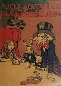 "The cover to a 1907 edition of Carroll's ""Alice's Adventures in Wonderland"" drawn by Charles Robinson"