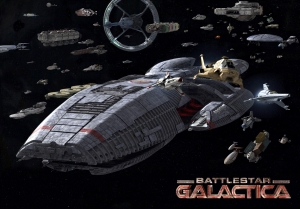 The Battlestar Galactica and the other ships from the reboot.