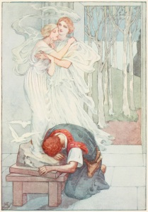 The cover of a myth book, depicting Galatae from the myth Pygmalion