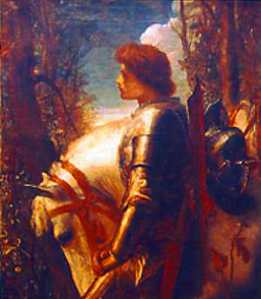 A painting of one of the oldest examples of a hero, Sir Galahad of the Round Table. Painting by George Frederic Watts.