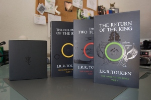 "J.R.R. Tolkien's three-novel series, ""The Lord of the Rings"", was recently adapted into a series of three feature length, live action films."