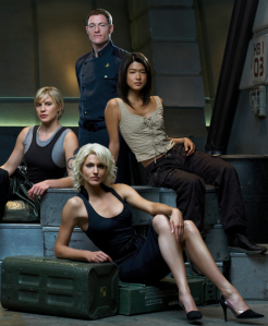 "From left to right: Kara ""Starbuck"" Thrace, Karl ""Helo"" Agathon, Number 6, Sharon ""Boomer"" Valerii"