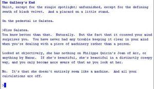 "A segment of Emily Short's ""Galatea"""