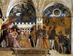 A typical Renaissance court depicted in The Court of Gonzaga by Andrea Mantegna