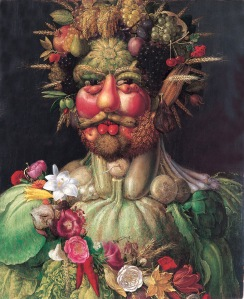 A personal favorite of the Emperor, this portrait was entitled Rudolf II as Vertemnus, the Roman God of seasons and growth. The portrait was painted by Giuseppe Arcimboldo.