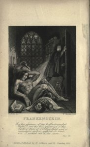 "The inside cover of the 1831 edition of Mary Shelley's ""Frankenstein"""