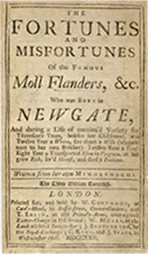The original title page for Daniel Defoe's Moll Flanders