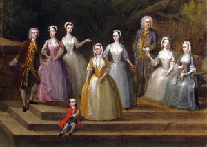 In the 17th and 18th century, a woman's good reputation was everything. So how could she go about keeping it spotless? (Painting Group Portrait of a Family by a Lake and a Classical Pavilion by Charles Philips)