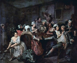 Women of ruined reputations often ended up as prostitutes in brothels such as these. (Painting Brothel by William Hogarth)