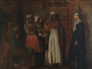 It was in the best interest of white women seeking their own power, to keep the same power from their female African-American domestics. (Painting is titled A Visit from the Old Mistress, by Winslow Homer)