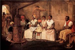 Being a mother as an African-American woman during the 1800s was anything but simple. (Painting Slaves Waiting for Sale - Richmond, Virginia by Eyre Crowe).