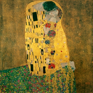 Gustav's Klimt's most famous piece, The Kiss, exhibited originally in 1908