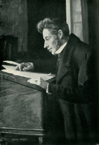 Portrait of famous philosopher Søren Kierkegaard, who questioned man's place alongside the fantastic (Portrait titled Søren Kierkegaard at his High Desk by Luplau Janssen)