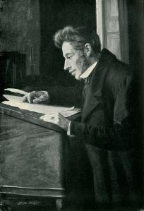 Portrait of famous philosopher Søren Kierkegaard, who questioned man's place alongside the fantastic (Portrait titled Søren Kierkegaard at his High Desk by Luplau Janssen)