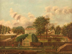 A typical southern plantation, as pictured in a painting called Louisiana Plantation Scene, in 1820, oil on canvas,by  M. L. Pilsbury