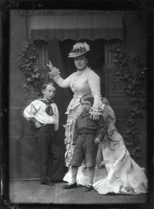 Being a Caucasian women with children meant that one was almsot inseperably tied to one's husband. (Photo of Princess Helena Augusta Victoria of Schlewig-Holstein with Her Two Eldest Childred by Alexander Bassano)