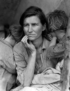 "Lange's most famous photograph ""Migrant Mother"" taken as part of her work with the FSA during the Great Depression"