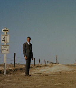 A faint speck in the distance, Roger Thornhill (Cary Grant) has no idea of what's about to happen to him.
