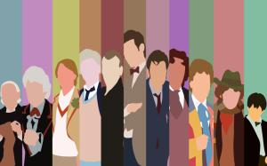 The Doctors over the years, a minimalist representation by Araigen via DeviantArt