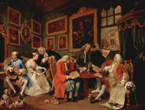 Another work by the brilliant William Hogarth in which a marriage is being 'brokered'